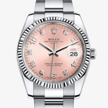 rolex Date Oyster 34 mm acciaio Oystersteel e oro bianco 115234