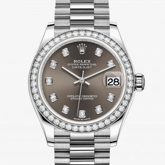 rolex Datejust Oyster 31 mm oro bianco e diamanti 278289RBR