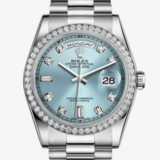 rolex Day-Date Oyster 36 mm platino e diamanti 118346