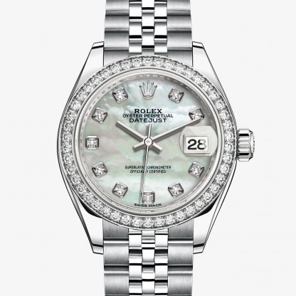 rolex Lady-Datejust Oyster 28 mm acciaio Oystersteel oro bianco e diamanti 279384RBR