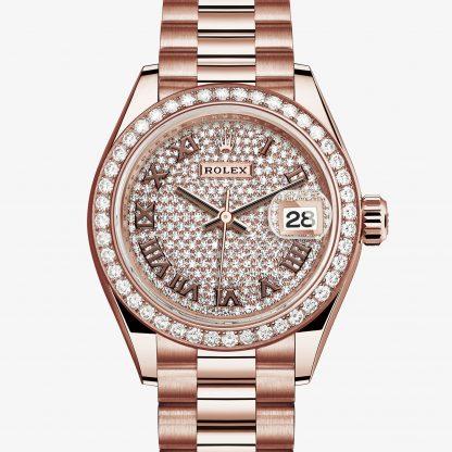 rolex Lady-Datejust Oyster 28 mm oro Everose e diamanti 279135RBR