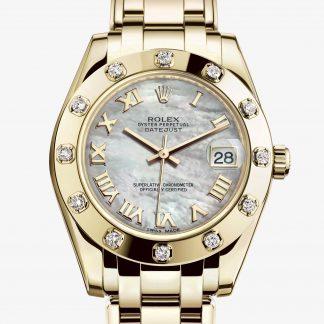 rolex Pearlmaster Oyster 34 mm oro giallo e diamanti 81318
